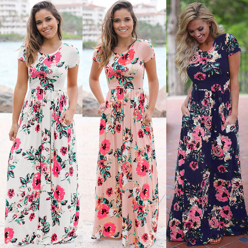 Printed Maxi Dress Fashion Sexy Boho Dress