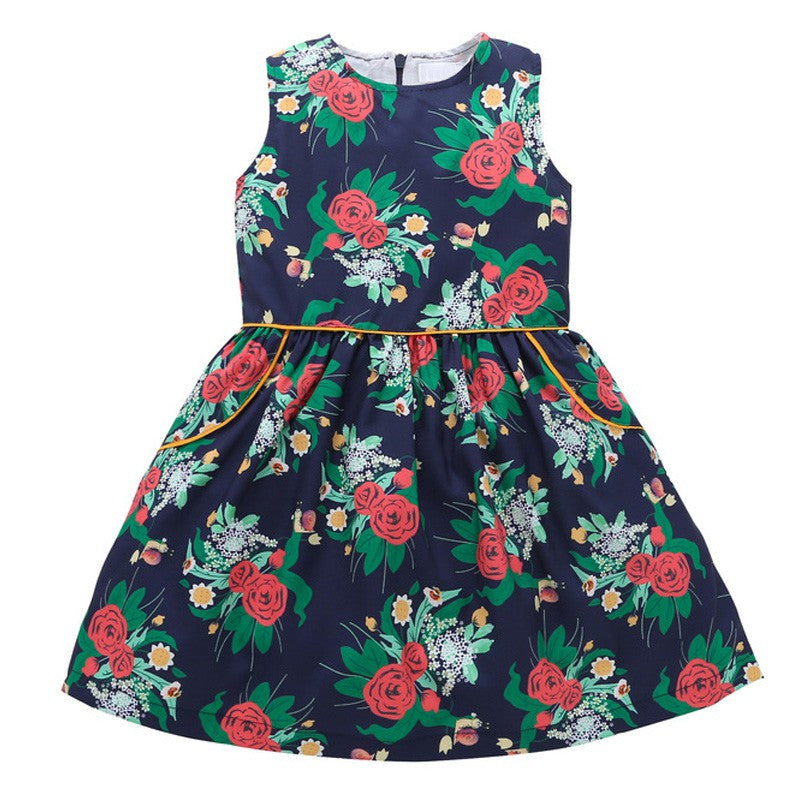 Cute Floral Printed Summer Vest Dress Children Floral Party Tutu Dress Having Beautiful Appearance