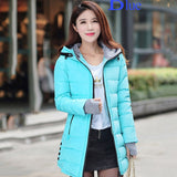 women winter hooded warm coat slim plus size candy color cotton padded basic jacket  medium-long  jaqueta feminina