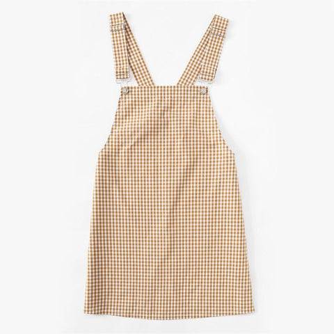 Detachable Strap Gingham Pinafore  Yellow Square Neck Dress