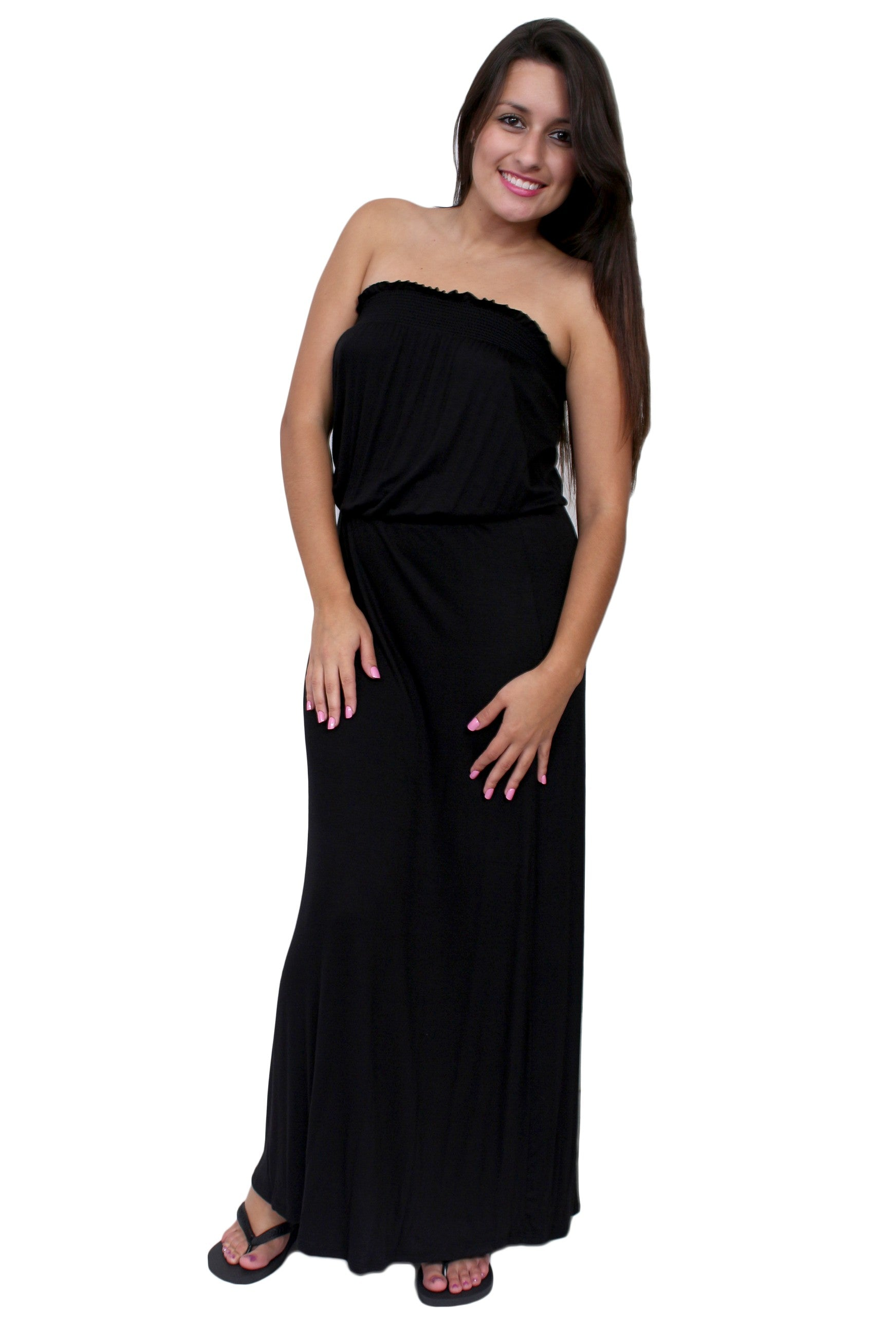 Women's smocked Tube Maxi DRESS: BLACK (LARGE)