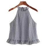 Black and White Gingham Buttoned Keyhole Back Vest Frill Halter Top