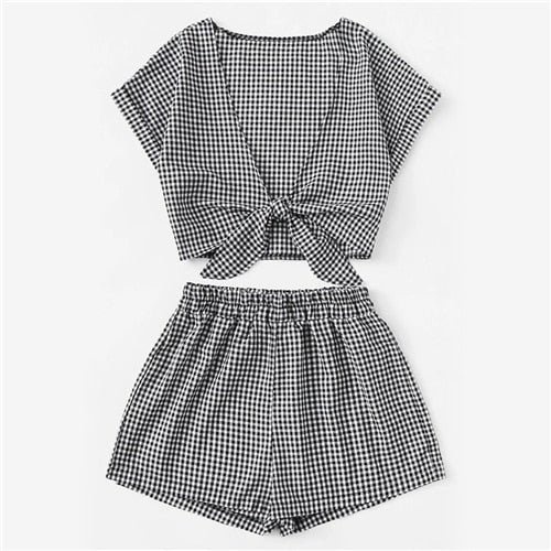 Black And White Tie Front Gingham Top With Shorts