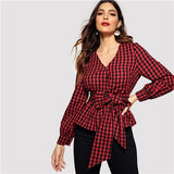 Front Belted Gingham Blouse Women Long Sleeve Top