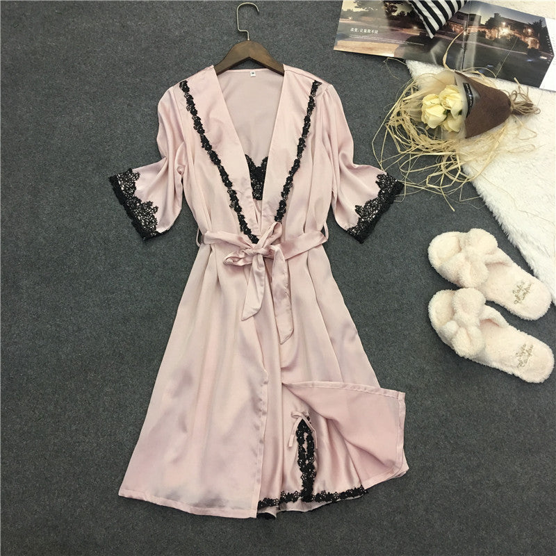 Foply brand women's  two piece robe & gown sets bathrobes + nightdress  luxury Nightwear