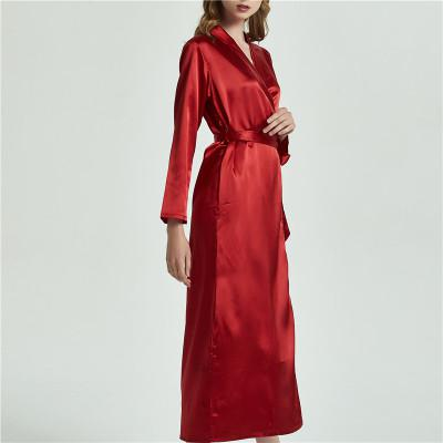 Women Long Robe  Sleepwear Kimono Sexy silk Luxury Nightwear