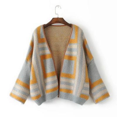 Open Knitted Outwear Oversize cardigan Striped Female Popcorn Jumpers