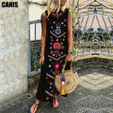 Women Summer Long Dress Floral Print Causal Boho Dress Sleeveless Slit Lady Maxi Size 5XL Sundress Summer Beach Dresses Vestido
