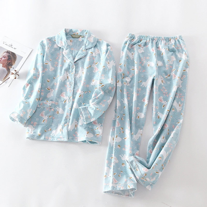 2019 New Pajamas Women Kawaii Cartoon Pajamas 100% Brushed Cotton Female Cute Night Suit Long Sleeve Sleepwear Big yard S-L