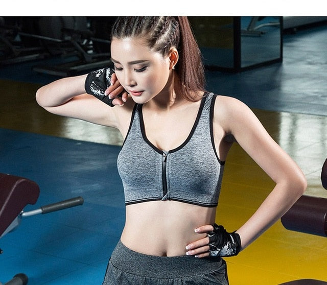 2019 HOT Sports Yoga BH Bra Front Zipper Top SEXY Women Fitness Push up Gym Running Shockproof Shirt Workout Fast Dry Vest 2XL-S