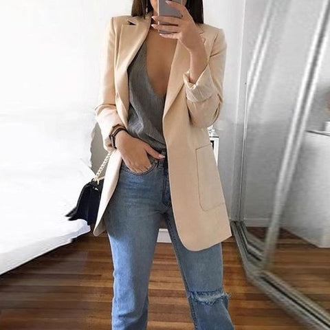 Women Casual Mid Trench Coat Solid Color Pockets Slim Cardigan Office Ladies Outdoor Work Suit Jackets Femme Clothes blazer