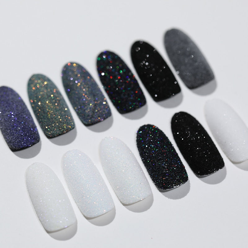 2g Shining Sugar Nail Powder White Black Nail Glitter Pigment for Gel Polish