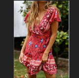 Drop shipping Women Vintage Short Sleeve Print Dress V neck Short Sleeve Boho Floral Mini Dresses Female Summer Holiday Sundress