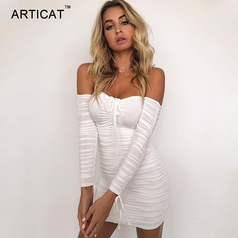 Articat Women Autumn Winter Bandage Off Shoulder Long Sleeve Dress