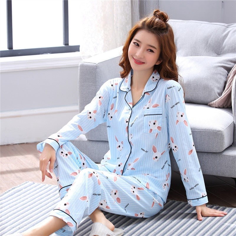 Pyjama Women Clothes Summer Womens Pajamas Sets Long-sleeved Sleepwear Suits Girl Fashion Casual Outerwear Sleepwear Night Suit