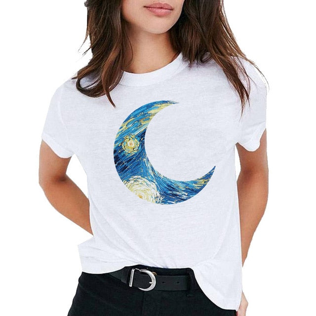Van Gogh Oil Art women t shirt Print t-shirt female top Casual new streetwear tshirt graphic tee shirts Harajuku Femme 2019
