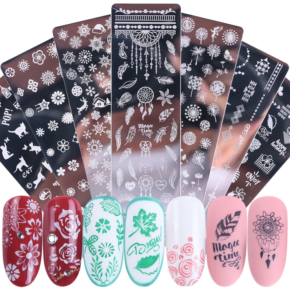 1pcs Nail Art Stamp Nail Stamping Template Flower Geometry Animals DIY Nail Designs Manicure Image Plate Stencil JISTZN01-12