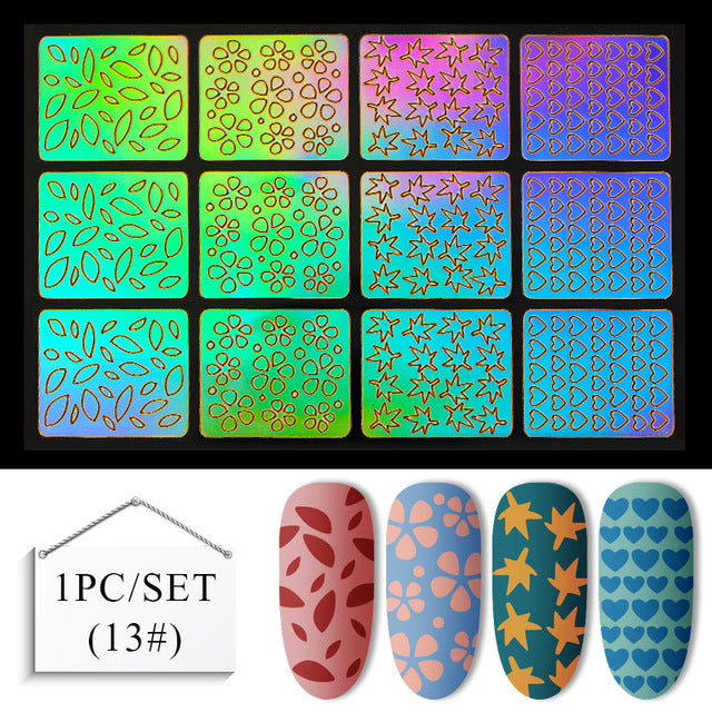 MEET ACROSS Hollow Laser Nail Art Sticker Stencil Set Gel Polish Nail Vinyl Tip Transfer Guide Template Tools Accessories
