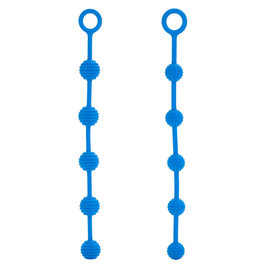 Pair Of Silicone O Anal Beads Blue