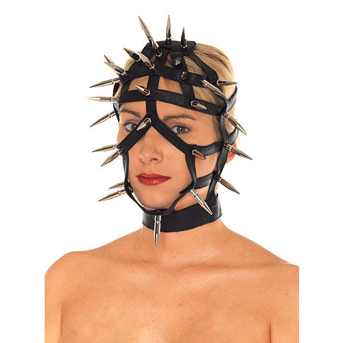 Leather Spiked Face Mask With Open Straps