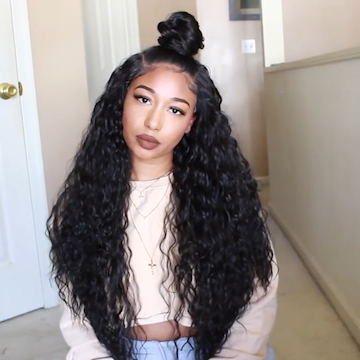 Super Natural Looking Long Curly Front Lace Wig