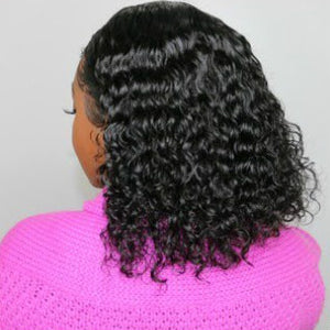150% Density Curly Lace Front Bob Wig