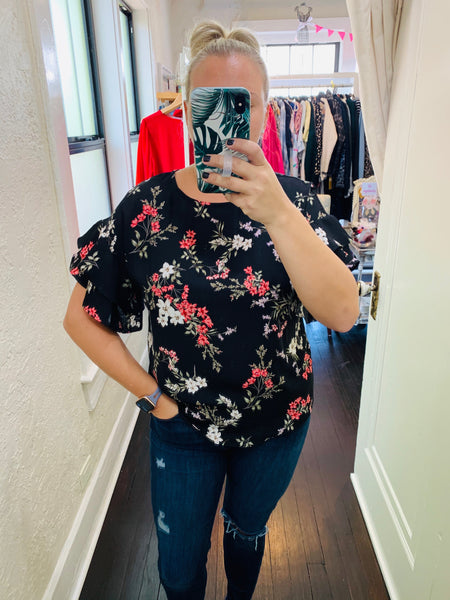 Floral Ruffle Blouse - Why Not Boutique Tampa