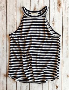 Stripe Faux Halter Top - Why Not Boutique