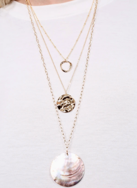 Castles Long Chain Layered Necklace with Round Shell Pendant - Why Not Boutique