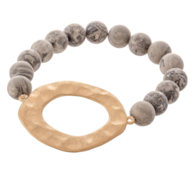 Hammered Circle Stretch Bracelet - Why Not Boutique Tampa