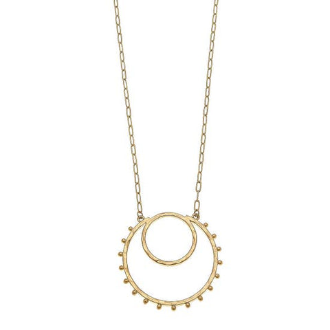 Studded Crescent Shape Necklace - Why Not Boutique
