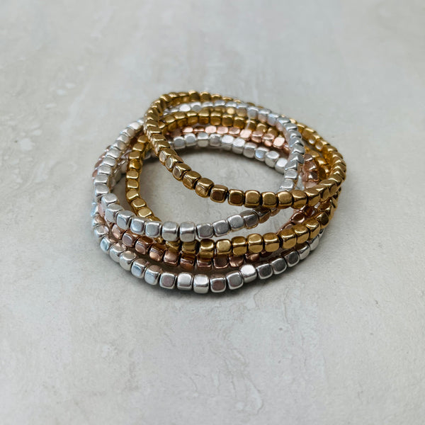 Layered Square Bead Bracelet