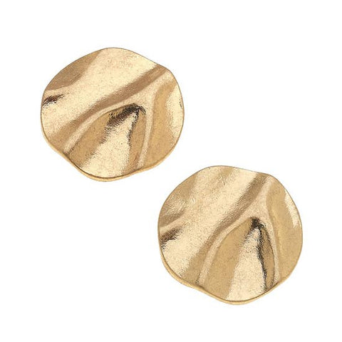 Crinkle Metal Stud Earrings - Why Not Boutique
