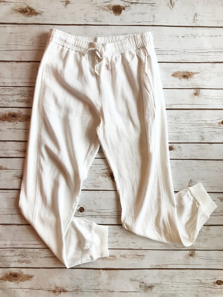 Rib Side Linen Draw String Joggers - Why Not Boutique Tampa