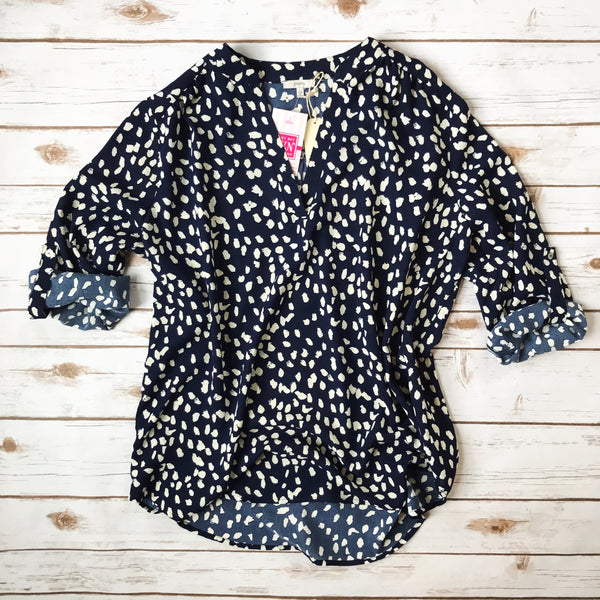 Polka Dot Collarless Top - Why Not Boutique Tampa