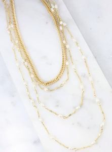 Ernesto Multi Layer Chain with Pearl Necklace - Why Not Boutique Tampa