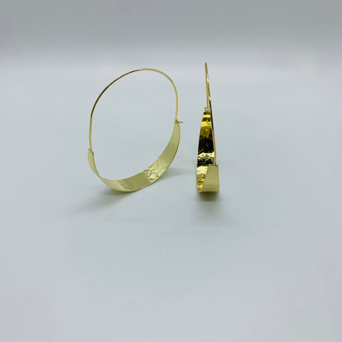 Decker Threader Hammered Metal Hoops - Why Not Boutique Tampa