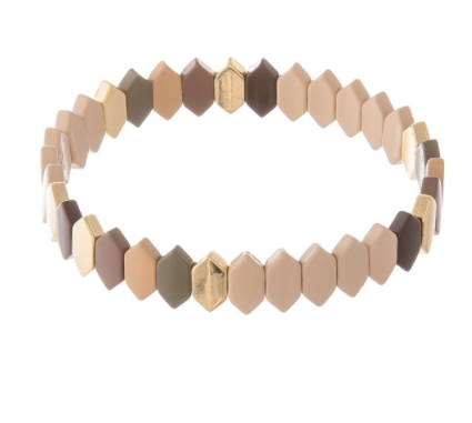 Enamel Coated Beveled Hexagon Stretch Bracelet