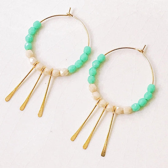 Beaded Hoop Paddle Earrings