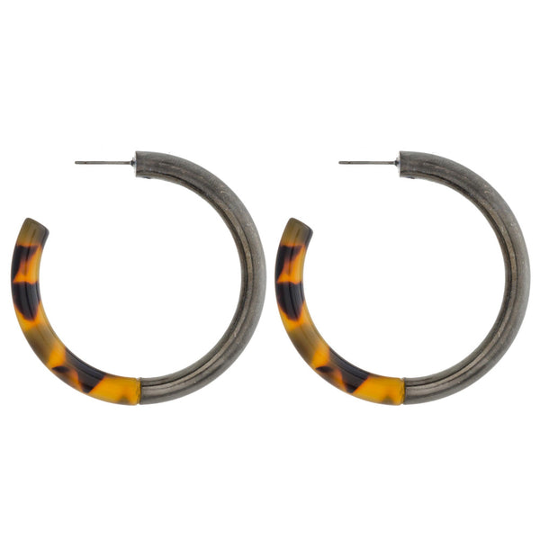 Marble Resin and Metal Open Hoops