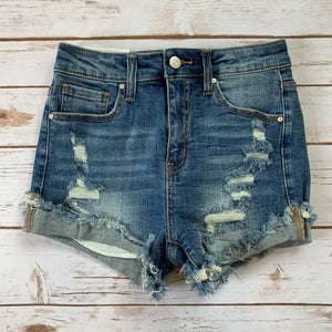 Distressed Raw Hem Denim Shorts - Why Not Boutique