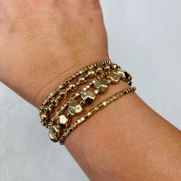 Multi Layered Metal Bead Bracelet
