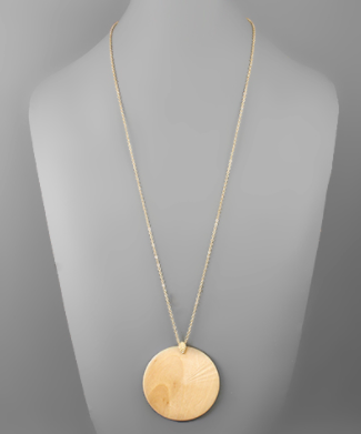Wood Disc Necklace - Why Not Boutique