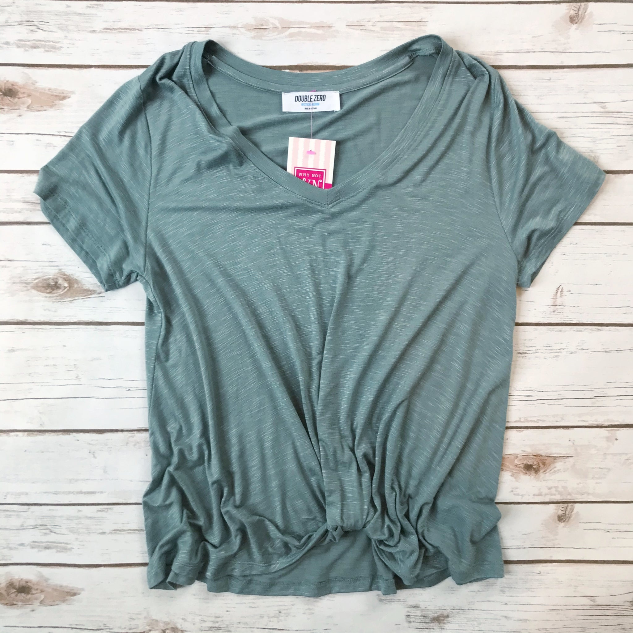 V Neck Twist Front Top - Why Not Boutique