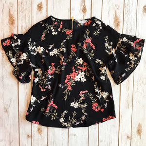 Floral Ruffle Blouse *FINAL SALE* - Why Not Boutique