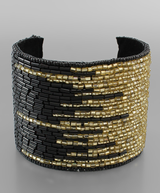 Two Tone Wide Beaded Cuff - Why Not Boutique