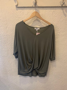 Half Sleeve Front Crossed Modal Knit Top - Why Not Boutique