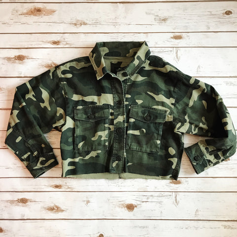 Cropped Camo Jacket - Why Not Boutique
