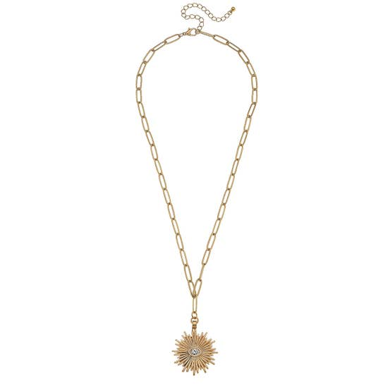 Sunburst Paperclip Chain Necklace - Why Not Boutique