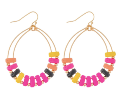 Enamel Coated Color Block Teardrop Earrings - Why Not Boutique Tampa